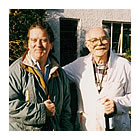 Alan Cotton with Sir Terry Frost RA, outside his studio in Cornwall.